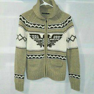 Women's XS Knit Cardigan Full Zip Aztec Eagle